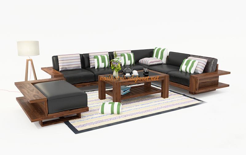 Mẫu Sofa Gỗ Góc đẹp Hiện đại SF02