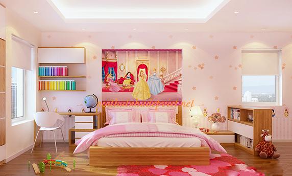 Thiết Kế Giường Ngủ đẹp Cho Con Gái GNBG05