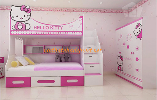 Mẫu Giường Ngủ 2 Tầng đẹp Cho Bé Gái GNT01