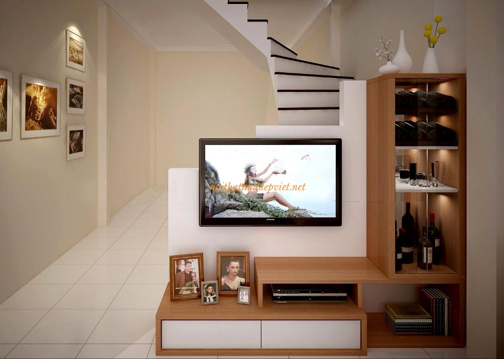 Mẫu Kệ Tivi Bằng Gỗ Công Nghiệp đẹp Cho Nhà Phố KTV08