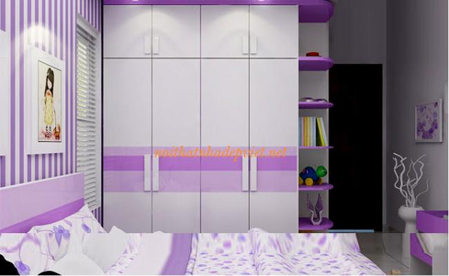 Tủ Quần áo đẹp Cho Bé Gái Bằng Gỗ TATE02