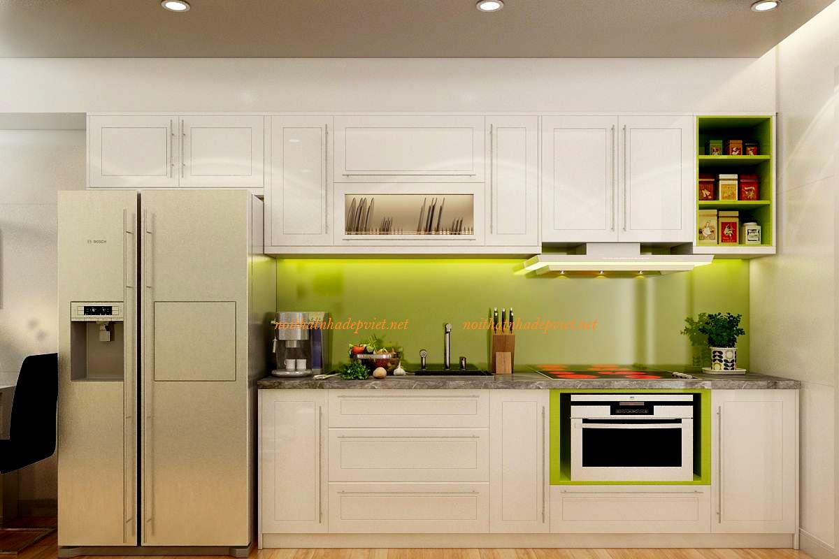 Mẫu Tủ Bếp Gỗ Sồi Nga Màu Trắng đẹp Hiện đại TB13