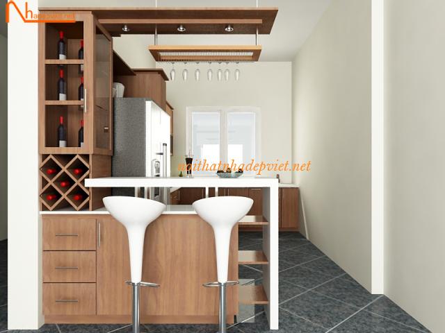 Mẫu Quầy Bar Ngăn Phòng Khách Và Phòng Bếp QB05