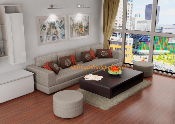 Mẫu Thiết Kế Sofa Nỉ Cho Phòng Khách Nhỏ SFN07