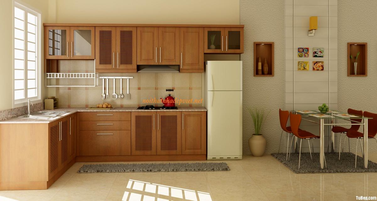 Mẫu Tủ Bếp Gỗ đẹp Hình Chữ L TB08
