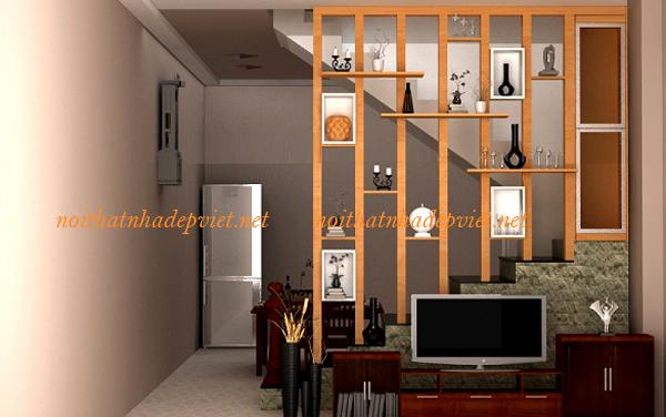 Vách Ngăn Gỗ Phòng Khách Và Phòng Bếp đẹp VN12