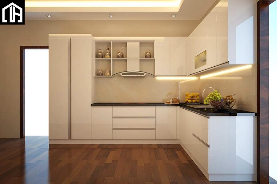 Tủ Bếp đẹp Hình Chữ L – Chất Liệu Gỗ Công Nghiệp Acrylic TB25