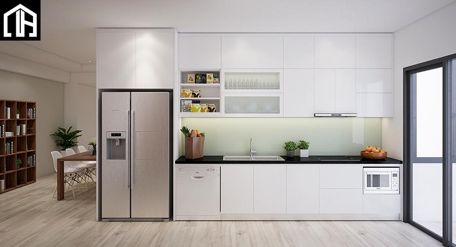 Thi Công Tủ Bếp đẹp Hiện đại Cao Kịch Trần Gỗ Acrylic TB22