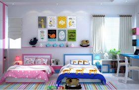 Thiết Kế Nội Thất Phòng Ngủ Chung Cho Bé Trai Và Bé Gái đẹp PNB13