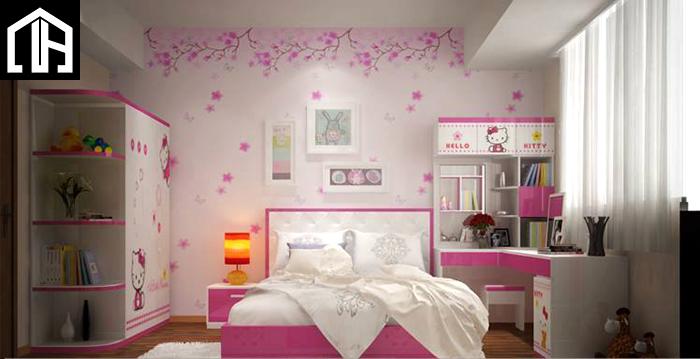 Phòng Ngủ Bé Gái đẹp Màu Hồng đáng Yêu Cho Con Gái PNBG16