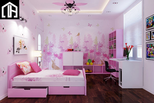 Mẫu Thiết Kế Và Báo Giá Phòng Ngủ Bé Gái đẹp Màu Hồng PNBG01