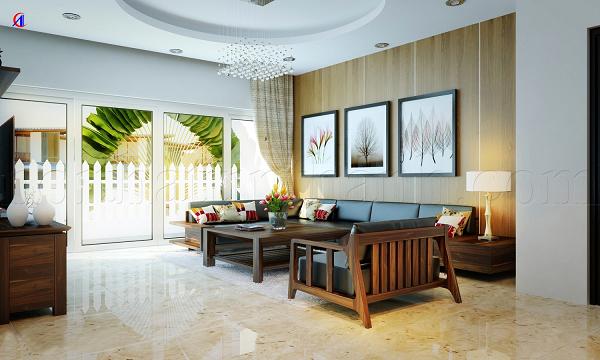 Phòng Khách Sang Trọng Và Tiện Nghi Với Sofa Gỗ